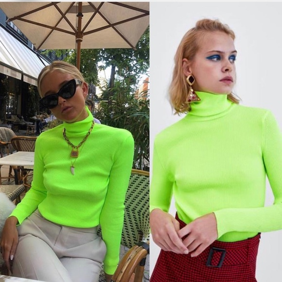 edfb4acb39377 ZARA ribbed turtleneck sweater neon green yellow